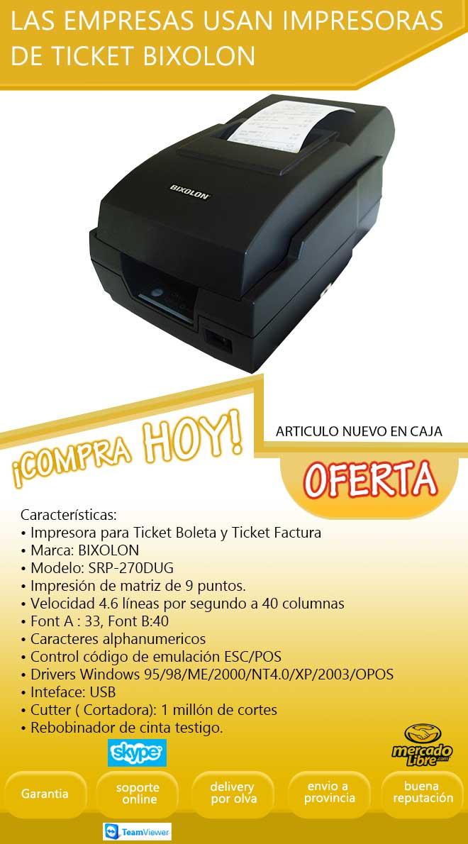 Impresora De Ticket Bixolon Srp 270 Nuevo Precio Incluye